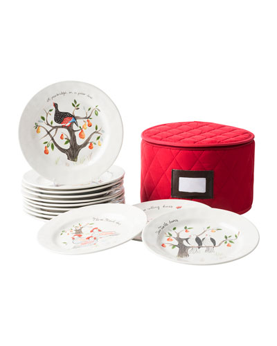 Twelve Days of Christmas Dessert Plates, Set of 12