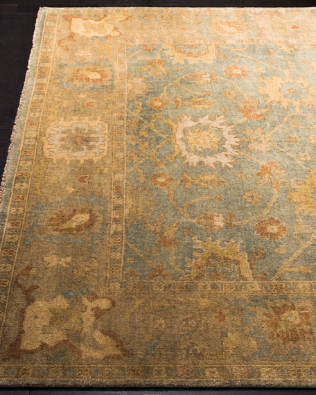 Vegetable Vine Oushak Rug, 4' x 6'