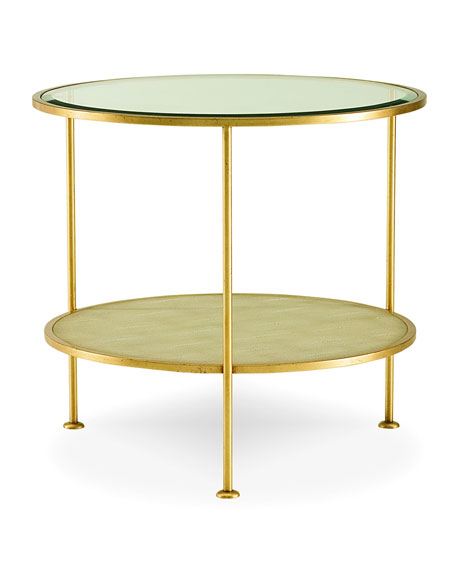 Adele Faux-Shagreen Glass End Table