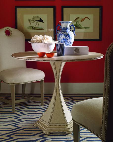 Inlaid Woven Raffia Side Table