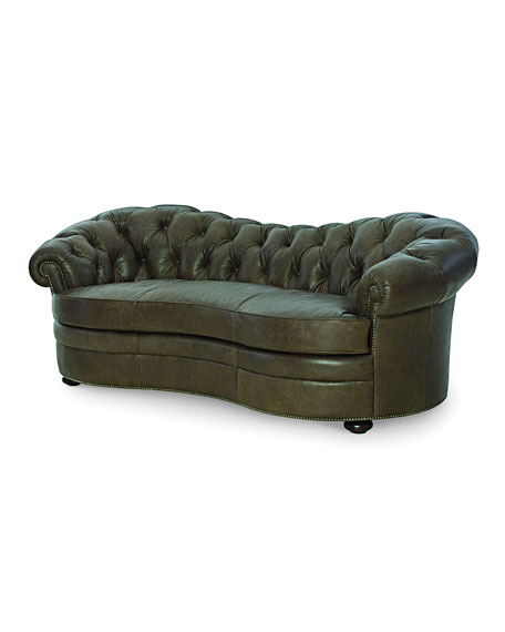 """Ebron Curved Leather Sofa, 88"""""""