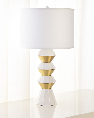 Ceramic and Metal Geo Table Lamp