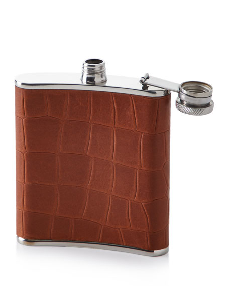 Croco-Embossed Leather Flask