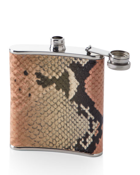 Snake-Embossed Leather Flask