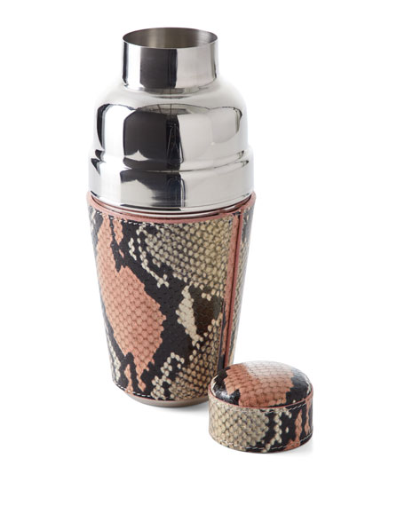 Snake-Embossed Leather Cocktail Shaker