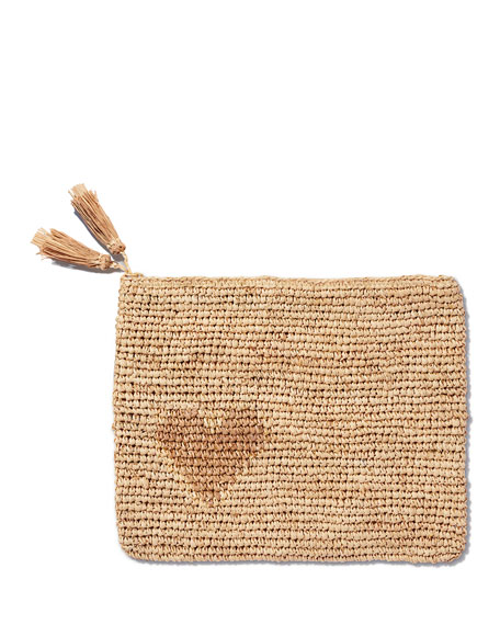 AERIN Heart Natural Raffia Zip Pouch