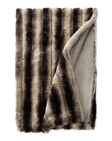 Chinchilla Faux-Fur King Throw