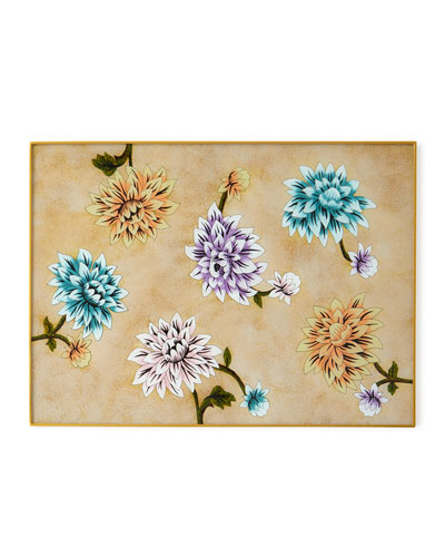 Elegant Colored Flower Painted Mirror Placemat