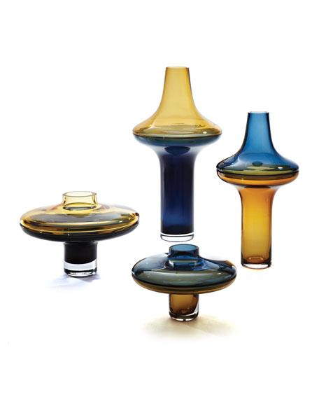 Large Tall Amber Over Cobalt Vase