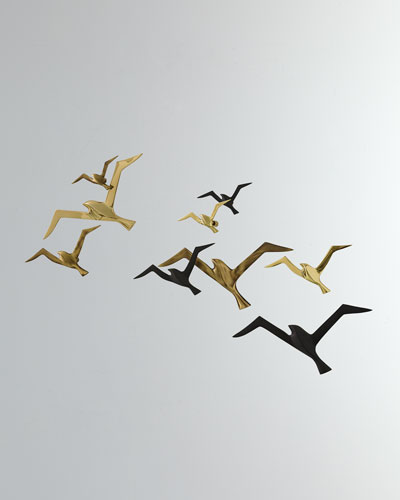 Metallic Flock Wall Decor  Set of 3