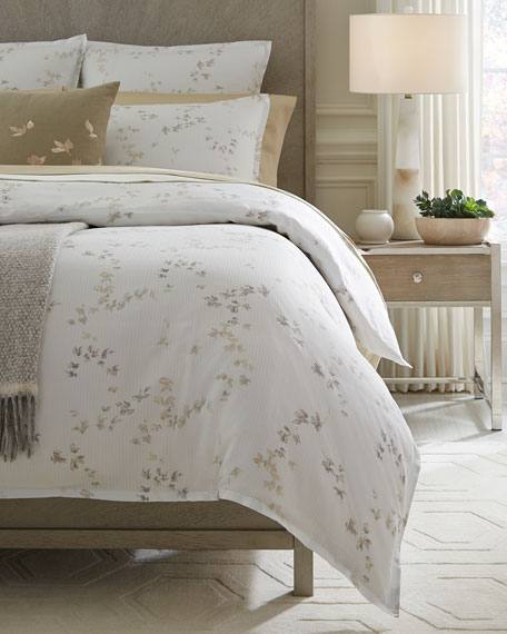 Floral Herringbone Twin Duvet Cover