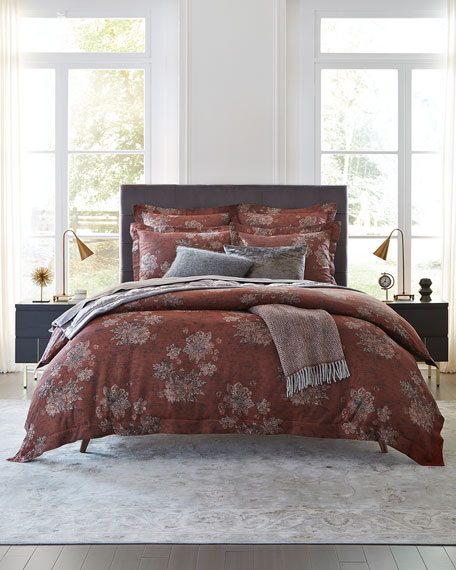 Stamped Floral King Duvet Cover