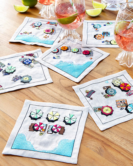 Kim Seybert Beach Day Cocktail Napkins, Set of