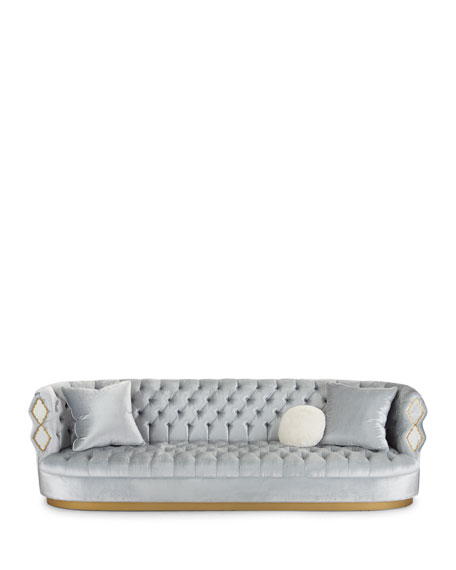 """Elisa Marble Inlay Tufted Sofa, 113"""""""
