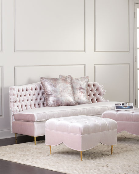 """Valentina Sofa, 83"""" and Two Tufted Ottomans"""