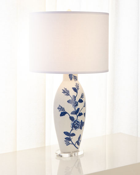 Blue Floral Ceramic Table Lamp