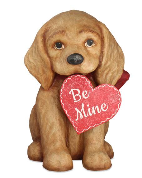 "Large Be Mine Puppy Paper Mache Valentine's Decoration, 16.5"""