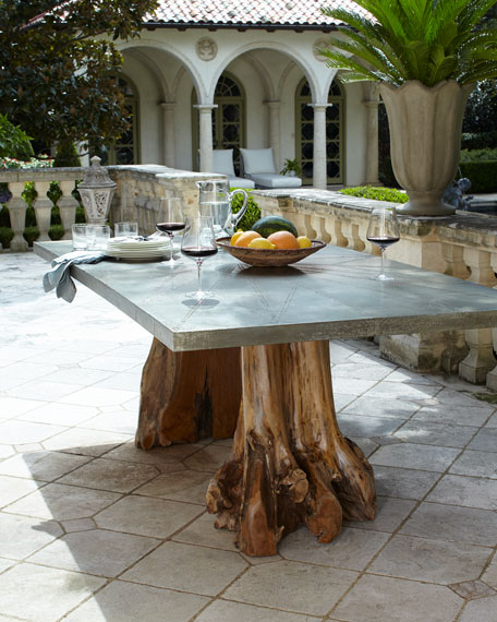 Teak Root Double Pedestal Table