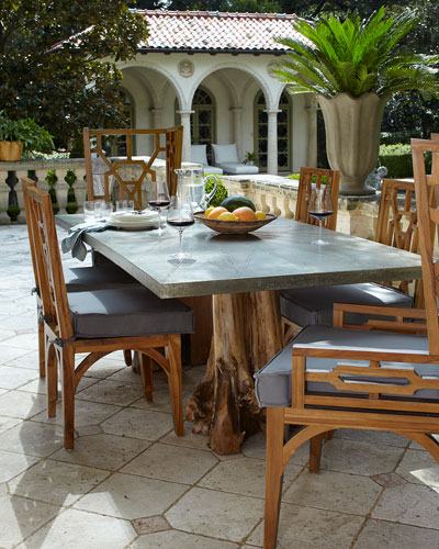 Teak Root Double Pedestal Table