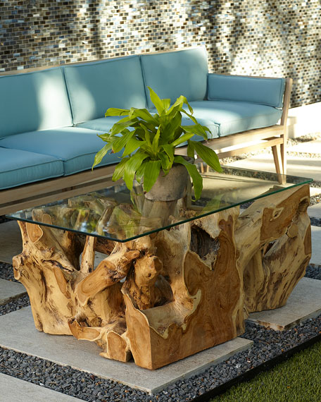 Outstanding Teak Root Coffee Table With Glass Top Download Free Architecture Designs Scobabritishbridgeorg