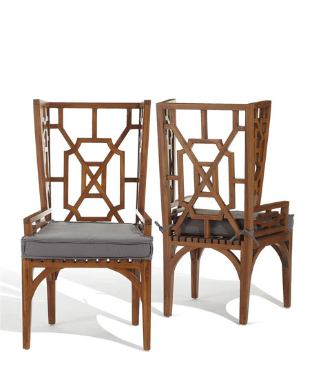 Pair of Teak Wing Back Chairs