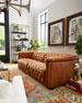 "Luca Tufted Leather Motion Sofa, 88"""