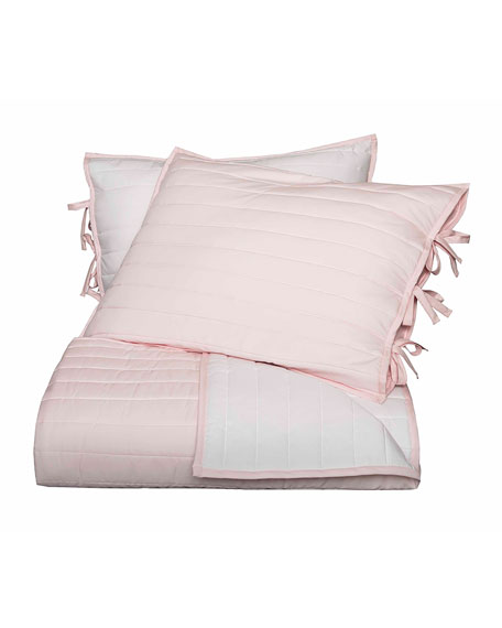 Reversible Quilted Twin Coverlet, Pink/White