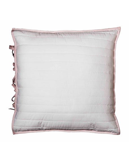 Reversible Quilted European Sham, Pink/White