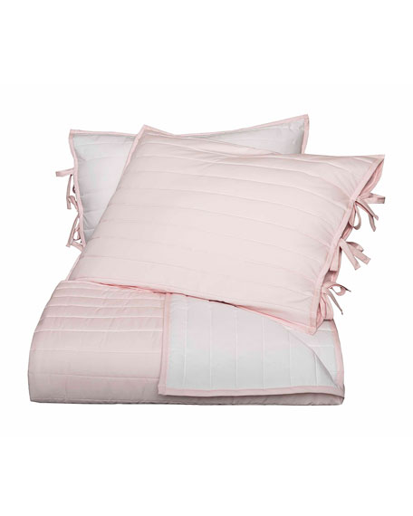 Reversible Quilted Full/Queen Coverlet, Pink/White