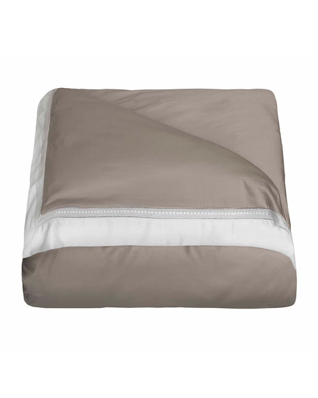 Bovi Fine Linens Devere King Duvet Cover, Taupe/White