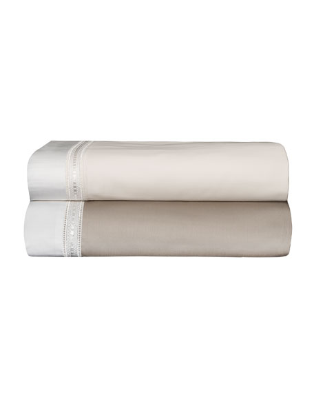 Devere King Sheet Set, Ivory/White