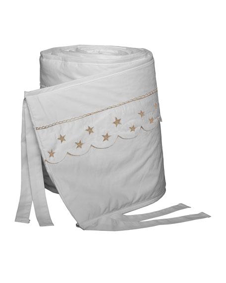 Bovi Fine Linens Twinkle Crib Bumper, White/Taupe
