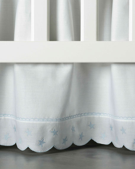 Twinkle Crib Dust Skirt, White/Blue