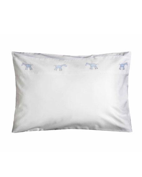 Bovi Fine Linens Peter Crib Pillowcase, White/Blue