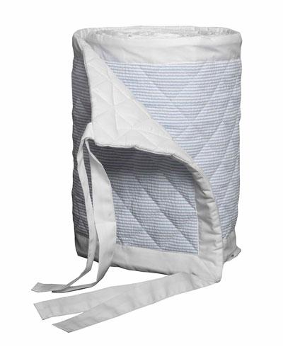 Baby Seersucker Crib Bumper  White/Blue
