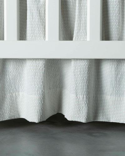 Baby Seersucker Crib Dust Skirt  White/Taupe