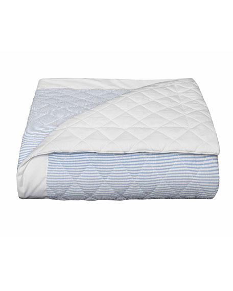 Baby Seersucker Crib Coverlet, White/Blue