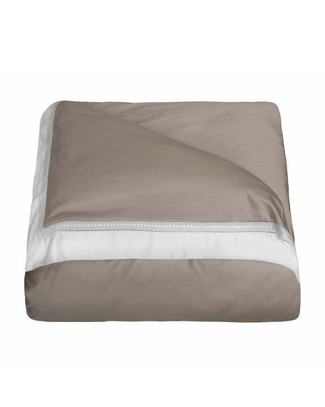 Devere Full/Queen Duvet Cover, Taupe/White