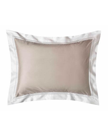Devere Standard Sham, Taupe/White