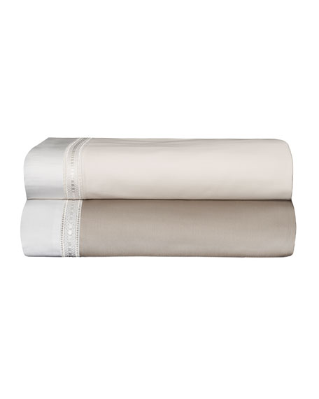 Devere King Sheet Set, Taupe/White