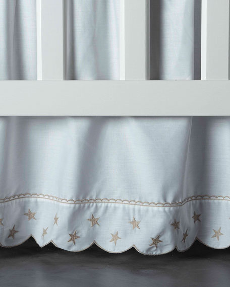 Twinkle Crib Dust Skirt, White/Taupe