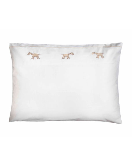 Bovi Fine Linens Peter Crib Pillowcase, White/Taupe