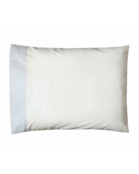 Baby Seersucker Crib Pillowcase, White/Blue