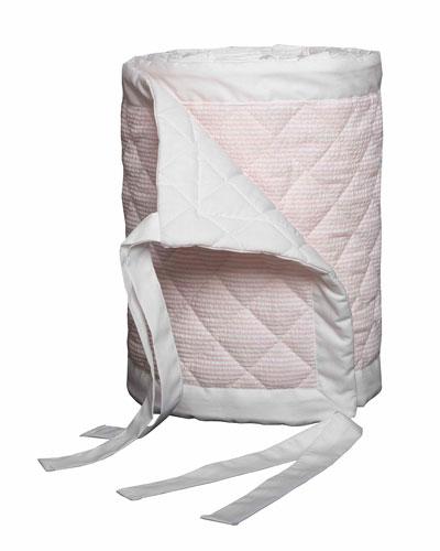 Baby Seersucker Crib Bumper  White/Pink