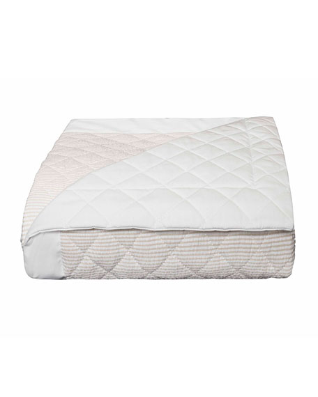 Baby Seersucker Crib Coverlet, White/Taupe