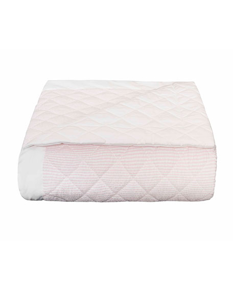 Baby Seersucker Crib Coverlet, White/Pink