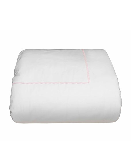 Bitsy Dots King Duvet Cover, White/Light Pink