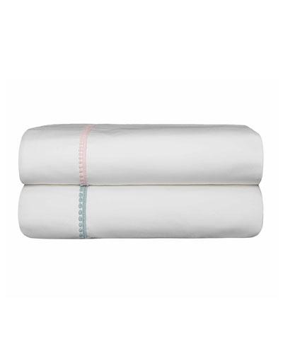 Bitsy Dots Full/Queen Sheet Set  White/Aqua