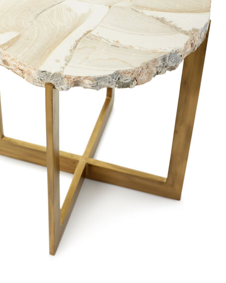 Jasmine Fossilized Clam Side Table