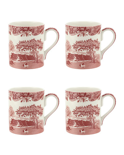 Cranberry Italian Mugs, Set of 4